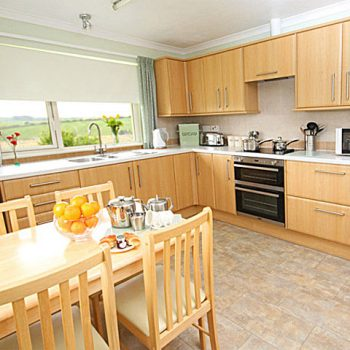 Large modern and well equipped kitchen with separate dining room